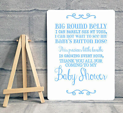 A5 Blue Boy Baby Shower Thank You For Coming Table Sign Decoration With Easel