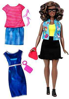 Barbie Fashionista Curvy African-American Doll with 2 Additional Outfits .