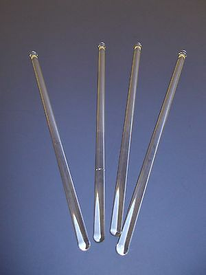 """Four Vintage 8"""" CLEAR BLOWN GLASS SWIZZLE STCK COCKTAIL STIRRERS   GL006"""