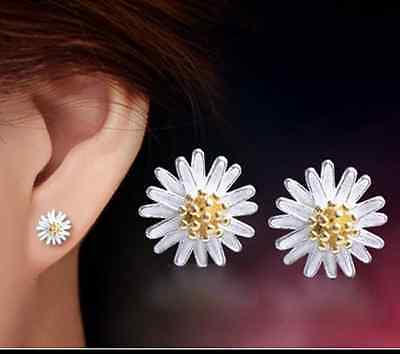 925 Sterling Silver Daisy Flower Yellow Ear Stud Earrings Jewellery Fashion Uk
