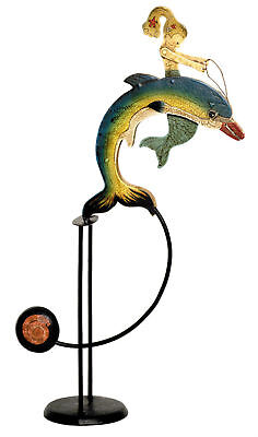 Mermaid Dolphin Sky Hook Teeter Totter Tin Antiqued Balance Toy New