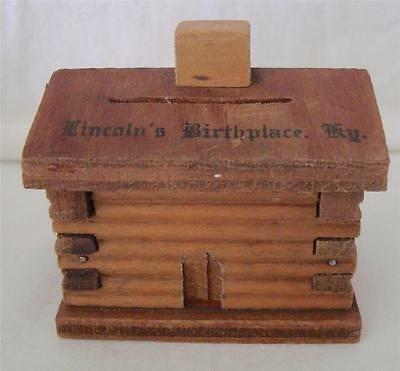 Vintage 1950s or 60s LINCOLN'S BIRTHPLACE, KY Miniature Wood Log Cabin Souvenir