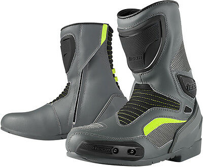 ICON OVERLORD Leather/Mesh CE certified Motorcycle Boots (Gray) Choose Size