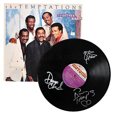 """The Temptations - Classic Motown Group - Autographed """"Together Again"""" Record"""