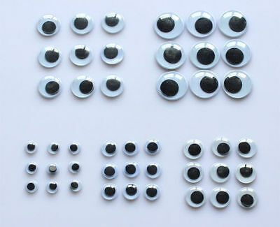 100 Googly Wiggly Wobbly Eyes For Crafts NEW Mixed Sizes