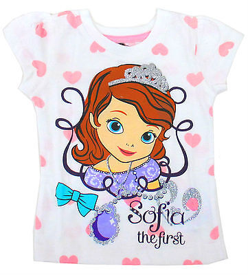 Disney Tee Shirt t Toddler Girls Sofia The First Kids Top Size Girl 2T White NWT