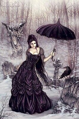 VICTORIA FRANCES ~ PARASOL GIRL 24x36 ART POSTER Graveyard NEW/ROLLED!