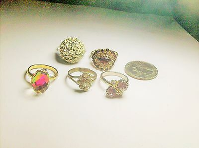 Collection { 5 } Of  Adjustable Rhinestone Rings------Vintage