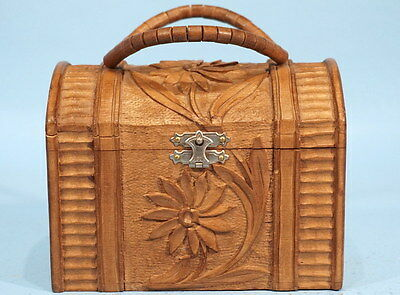 Antique Swiss Black Forest Wood Carving Basket Purse Edelweiss Relief Brienz