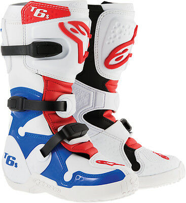 ALPINESTARS Kids TECH 6S MX/Motocross/Offroad Boots (White/Red/Blue) US 5 Youth