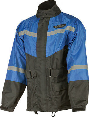 FLY RACING Two-Piece Motorcycle Rain Suit (Black/Blue) 2XL (2X-Large)