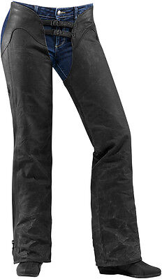 ICON Ladies 1000 Hella Canvas/Leather Motorcycle Chaps (Black) XL (X-Large)