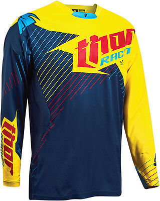 THOR MX Motocross 2016 Core HUX Limited Edition Jersey (Navy/Yellow) L (Large)