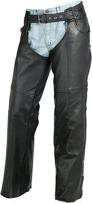 Z1R Men's CARBINE Leather Motorcycle Riding Chaps (Black) S (Small)