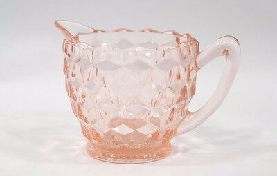 Vintage Jeannette Glass Pink Depression Cube Cubist Pattern Cream Pitcher