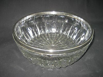 """Vintage Crystal Glass 9"""" Bowl With Silver Band Around Rim"""