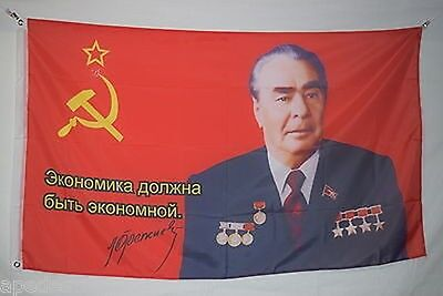 Leonid Brezhnev General Secretary Soviet Union of CCCP USSR the Flag Banner 3x5