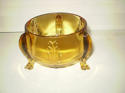 Htf Antique? Art Nouveau/deco Amber Glass Footed Candy Nut Dish Euc, No Issues