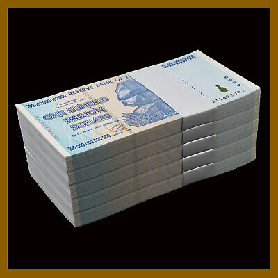 500 Pcs x Zimbabwe 100 Trillion Dollars (Bundle),  2008 AA P-91 Unc