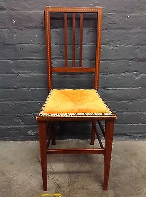 Pretty Edwardian Hall/Bedroom Chair With Upholstered Seat
