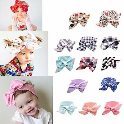Kids Toddler Girls Baby Big Bow Hairband Headband Stretch Turban Knot Head Wrap