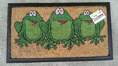 Three Green Frogs - Natural Coir & Rubber Door Mat
