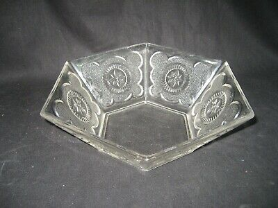 Vintage Crystal Glass Dish Six Sided with Star Design