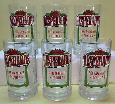 Lot De 6 Verres A Biere Desperados , Graves  , 25 Cl , Dsp49