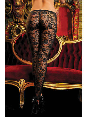 Stretch Floral Lace Leggings With Elastic Waistband Seven 'til Midnight