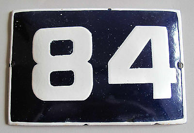"VINTAGE BLUE  PORCELAIN ENAMEL NUMBER  84  SIGN  - 5,9"" by 3,7"""