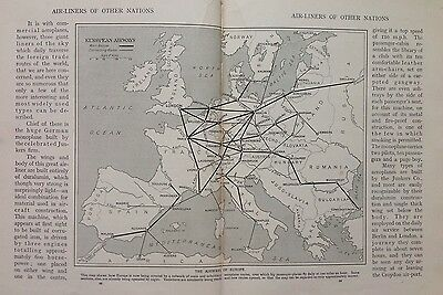 The Airways Of Europe Vintage Map c1930, Early Aircraft