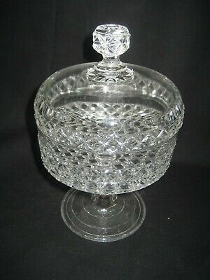 Vintage Clear Crystal Glass Pedestal Round  Covered Candy Nut Dish