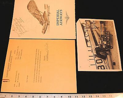 William B. Robertson~Lindbergh Backer~ Imperial Airways Brochure & Signed Letter