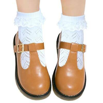 School girls cotton Pointelle socks with lace flat toe seam for extended comfort