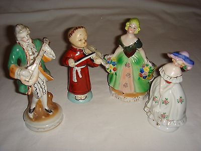 Lot of 4 Vintage Renaissance / Colonial Figurines -- Made in Occupied Japan