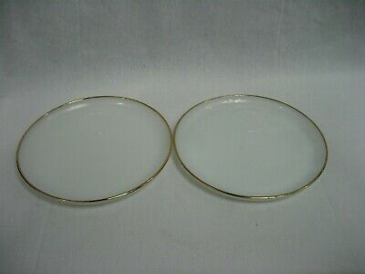 Vintage Fire King Oven Ware Snack Plates Milk Glass with Gold Trim Set of 2