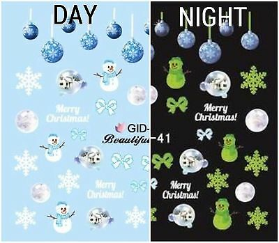 Nail Art Water Decals Glow in the Dark Winter Snowman Ornaments Christmas GID041