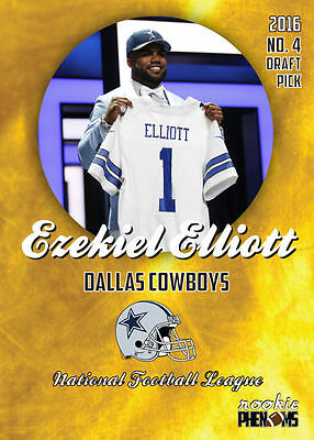 2016 Gold Phenoms Ezekiel Elliott Rookie Rc Card 1St Dallas Cowboys Card Hot!