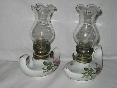 2 Vintage Miniature Genie Ceramic White Hand Painted Roses on Oil Lamp