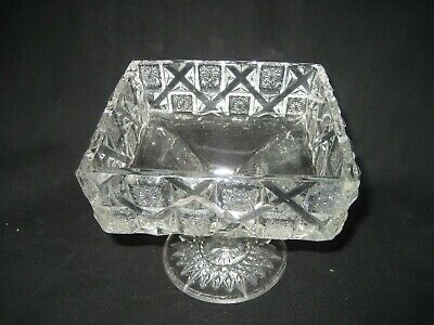 Vintage Square Pedestal Crystal Clear Glass Candy Nut  Dish Bowl