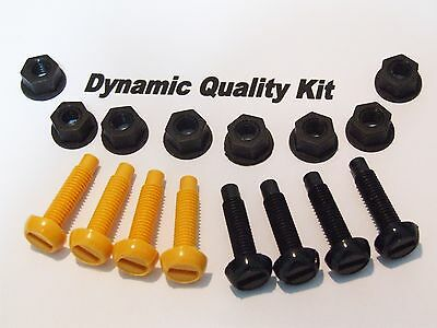 16 Pcs Number Plate Bolts Nuts Yellow Black Screws Fitting Kit Motorcycle Car