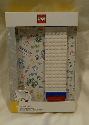 Lego Stationary Journal Notebook w/ Band White - Brand New