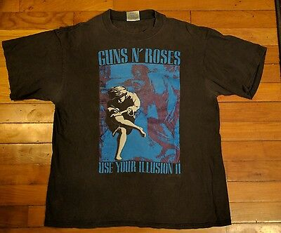 Guns N' Roses Use Your Illusion II 1991 Vintage Concert Tour T-Shirt Size L USED
