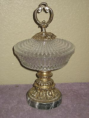 Vintage Crystal Glass Diamond Cut Covered Candy Bowl Dish Metal & Marble Base