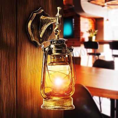 Retro Antique Vintage Rustic Lantern Lamp Wall Sconce Light Fixture Outdoor E27
