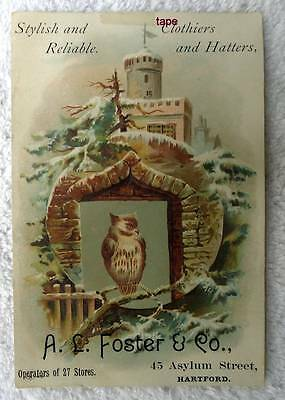 TRADE CARD A L FOSTER HARTFORD CLOTHIERS HATS OWL CASTLE #d34
