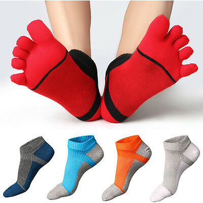 1 Pair Cotton Breathable Combed Men's Five Finger Toe Ankle Casual Sport Socks