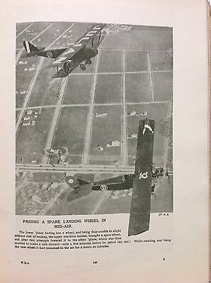 BiPanes, Passing A Spare Landing Wheel In Mid Air, Vintage Print c1930, Aircraft
