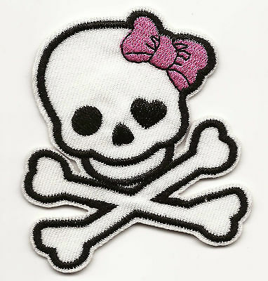 Cute White Skull With Hot Pink Bow Embroidered Patch Iron-on Art Good Luck