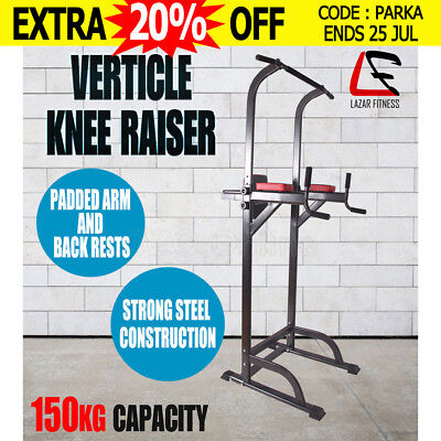 Lazar Fitness Knee Raise Power Tower Chin Up Push Pull Dip Station Home Gym New